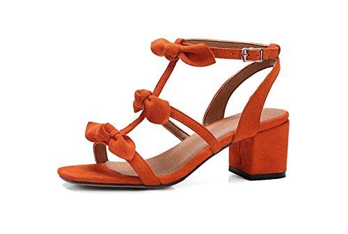 Leder Bogen T-toe in dick mit Frauen Sandalen mit wilder koreanischer Version von Damenschuhen Orange