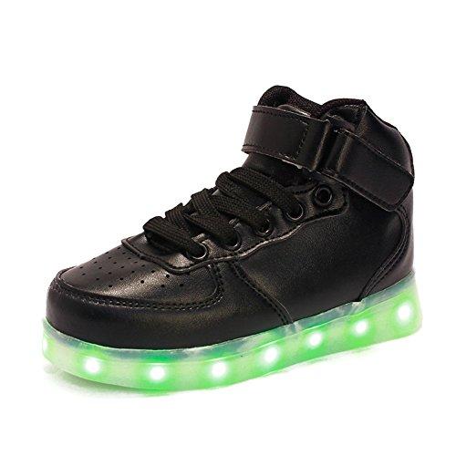 O&N LED Schuhe Kinder Schduhe Jungen Mädchen Bunte LED leuchtet Sportschuhe Sneakers USB Aufladen athletische Schuhe 24-34 (Yeezy 2 Größe 11)