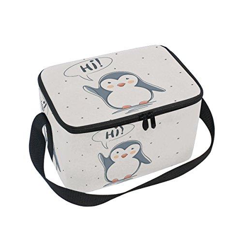 ALAZA Hi Pinguin Isolierte Lunchtasche Box Kühltasche wiederverwendbar Tasche Outdoor Reise Picknick Tasche mit Schultergurt für Damen Herren Erwachsene Kinder 10x7x6 inches - Lunch-box Pinguin
