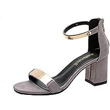 Sandalias para mujer Sandalias de verano con punta abierta de mujer Zapatos de tacón grueso Zapatos de Gladiador Ocasiones casuales Sandalias cómodas LMMVP