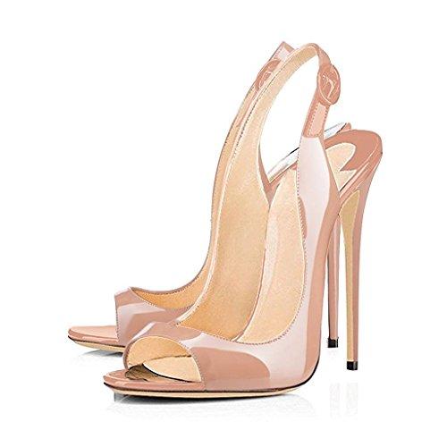 EDEFS- Sandales pour Femme - Chaussures à talons aiguilles - Boucle - Ouvertes à l'arrière femme Beige