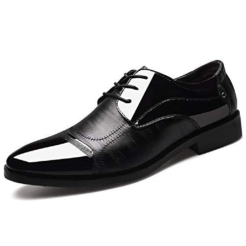 Scarpe uomo pelle, derby stringate basse oxford verniciata elegante sera lavoro cerimonia vintage vernice casual lucida nero 44
