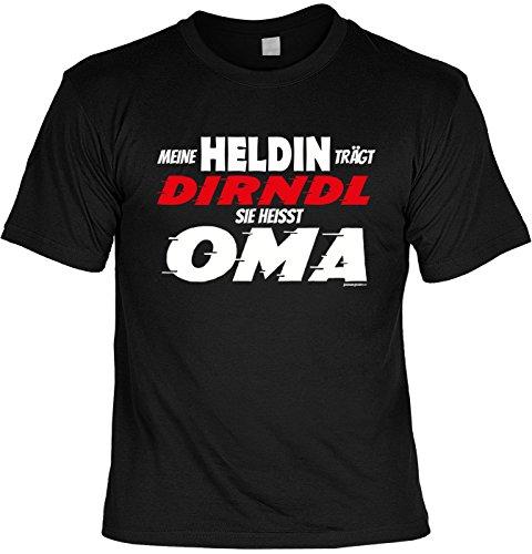 Oma/Familien-Spaß/Fun-Shirt/Rubrik lustige Sprüche: Meine Heldin trägt Dirndl Sie heisst Oma geniales Geschenk Schwarz