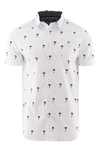 Brave Soul - Chemise casual - Avec boutons - Col Chemise Classique - Homme Palm Tree - Optic White