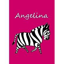 personalisiertes Malbuch / Notizbuch / Tagebuch - Angelina: Zebra - A4 - blanko