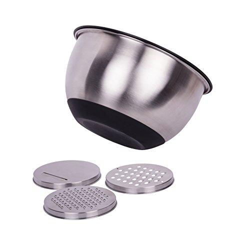 Salatschüssel mit Deckel, Rutschfeste Edelstahl Schüssel Rührschüssel mit 3 Reiben, Teigschüssel mit Messmarkierungen, 24 cm, 4,5 Liter, Silber - Edelstahl Schüssel Käse