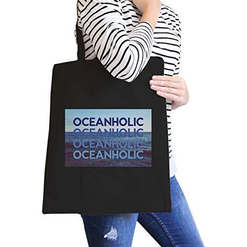 """Oceanholic Einkaufstasche aus Segeltuch, mit Aufdruck\""""Oceanholic\"""", Schwarz"""