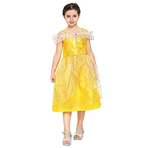 Katara - Belle yellow dress, Disney inspired, Beauty and the Beast ball gown for girls, fairytale princess tulle and sequin outfit;short sleeved knee long dress - 6-7 years