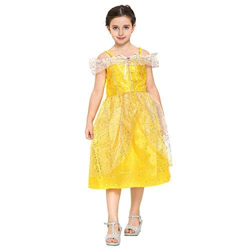 Kostüm Goldenen Ballkleid Belle - Katara 1749 - Prinzessinen-Kleid Bella / Belle Aus Disney's für Karneval, Halloween, Prinzessin-Kindergeburtstag, gelb