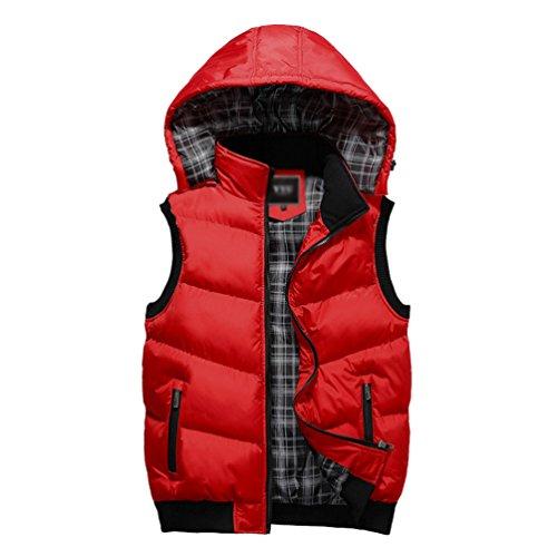 Yuandian uomo autunno inverno casual gilet con cappuccio removibile caldo slim fit imbottito piumino giubbino senza maniche smanicato rosso 2xl