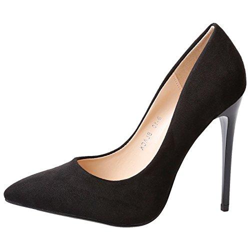 Feet First Fashion Danita Womens High Stiletto Heel Poi Black Faux Suede 3 UK/36 EU
