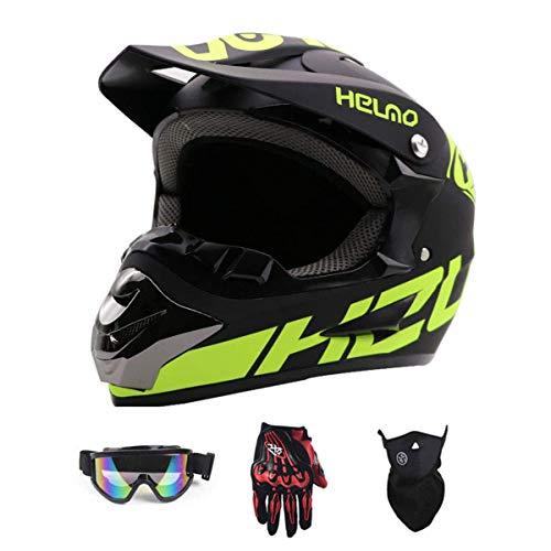 YUCARAC Motocross Helmet Adult, Off-Road Motorcycle Helmet Kit Casco Integral Unisex Enduro Quad MTB Downhill ATV con Gafas Guantes Máscara para jóvenes Adultos Hombres Mujeres,M