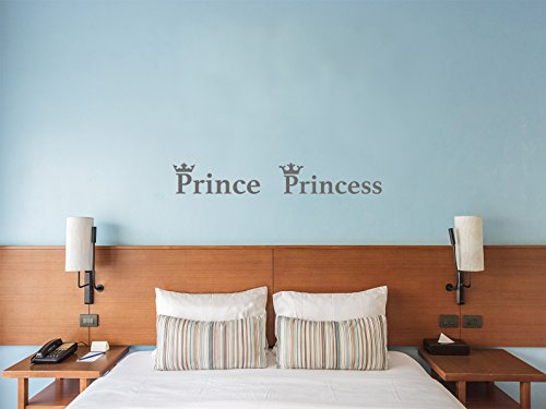Comedy Wall Art Prince and Princess - Krone - Grau - Klein - Wandtattoo