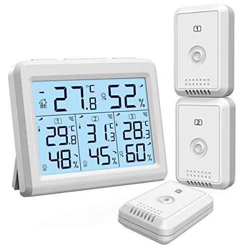 【2019 New】Oria Thermometer Hygrometer, Innen Außen Thermometer mit 3 Außensensor, Hintergrundbeleuchtung & Großes LCD Display, Min/Max Aufzeichnungen, ℃/℉ Schalter, Ideal für Büro, Zuhause - Weiß