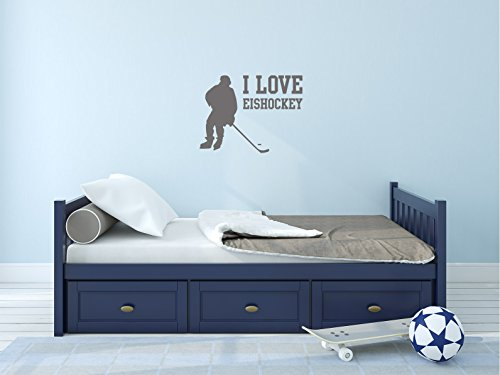 Comedy Wall Art I Love Eishockey - Grau - ca. 30 x 22,5 cm