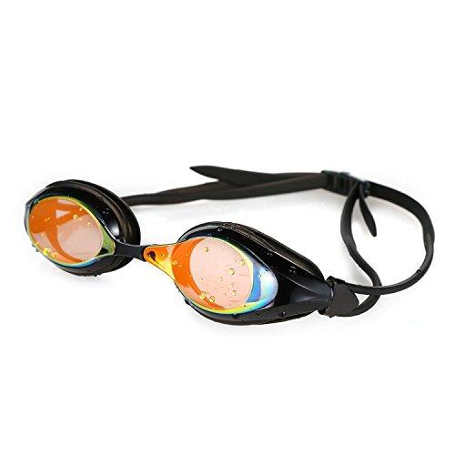 HiCool Schwimmbrille, Schwimmbrille für Erwachsene 100% UV-Schutz + Antibeschlag Starkes Silikonband (Schwarz)