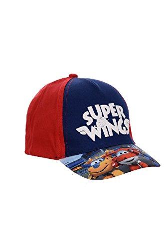 Super Wings Gorra, Gorra de Béisbol, Gorra Infantil, Niñas y Niños, 100% Algodón con Velcro Ajustable (52, Rojo)
