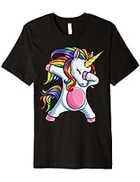 Dabbing Unicorn T Shirt Einhorn Mädchen Kinder Regenbogen