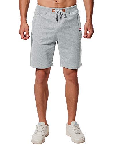 Herren Sport Kurze Hose, Joggen und Training Shorts Fitness Bermuda Kurze Hose Bermuda Reißverschlusstasch (Hellgrau, L) ()