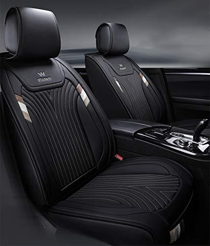 Vier-Jahreszeiten-Ledersitzbezug, wasserdicht und rutschfest PU-Ledersitzbezug, kompatibel mit Airbags für die meisten Fünf-Sitzer-Autos,Black - Sitzbezüge Matrix Toyota Auto
