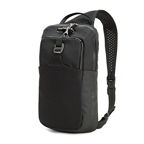 Pacsafe Venturesafe X Sling Pack Anti-Diebstahl Umhängetasche für Rechts- als auch Linkshänder geeignet, Diebstahlschutz - Sling Bag, Schwarz/Black (Sichere Laptop-tasche)