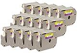 15x M K231 MK231 M-231 Schwarz auf Weiß 12 mm x 8 m Schriftbandkassetten kompatibel für Brother P-Touch PT-45, PT-55, PT-65, PT-70, PT-75, PT-80, PT-85, PT-90, PT-M95, PT-100, PT-110, PT-BB4 Beschriftungsgerät