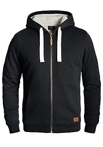 BLEND Ted - Sweat à capuche zippé- Homme, taille:M;couleur:Black (Nero A Coste Con Scollo A V Maglia)