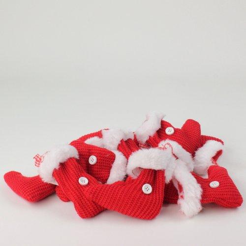 Strick-Stiefel zum Hängen rot-weiß 9,5 cm 12 Stück