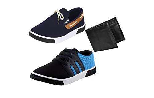 Bersache Men Combo Pack of 3 Loafers & Moccasins With Casual Shoes & Wallet (8 UK)