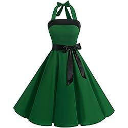 Timormode 10212 Vestido De Vintage 50s Cuello Halter Elegante Mujer Verde M