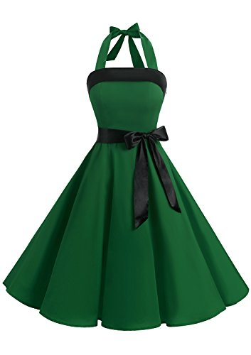Timormode 10212 Damen 1950er Vintage Abendkleid Elegant Neckholder Retro Cocktailkleid Faltenrock Kleid Partykleid Cocktailkleid S Grün (Satin Elegantes Kleid)