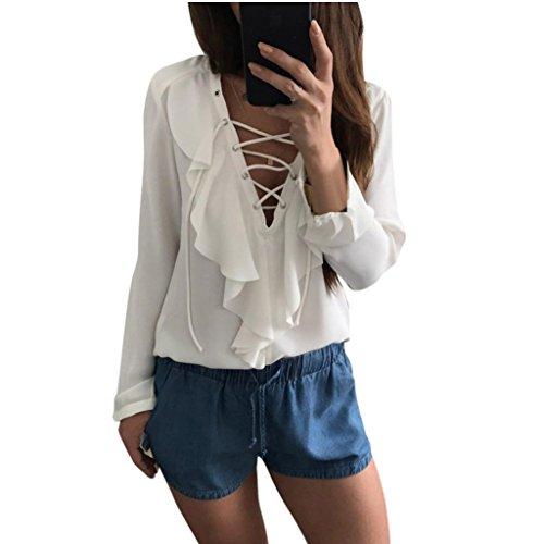 WOCACHI Damen Blusen Frauen Casual V Neck Straps Rüschen Lange Ärmel Tops Shirt Damen Loose T-Shirt Bluse (S, (Kostüm Schmuck Camo)