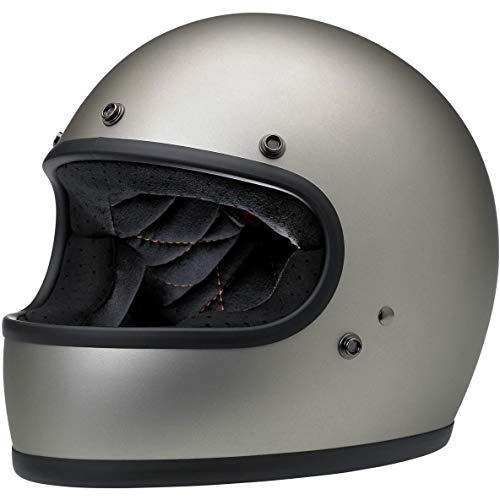 Biltwell Gringo casco de motocicleta de cara completa de titanio plano