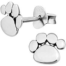 Pendientes de plata de ley, diseño de huellas de perro