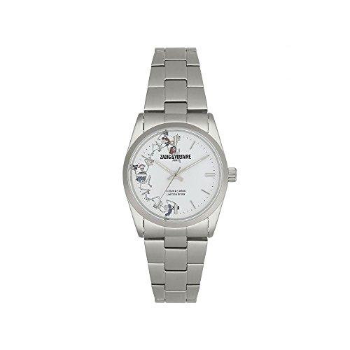 Orologio unisex Zadig & Voltaire al quarzo quadrante bianco 36mm e bracciale argento in acciaio inox zvf418