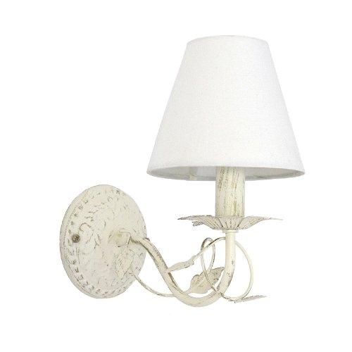 Wandlampe L'ARBRE Metall mit Blattverzierungen cremeweiß - Blatt-akzent-lampe
