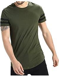 BYC Men's Solid Curved Hem Round Neck Half Sleeve Tshirt/Tshirt For Mens/Round Neck Tshirt/Sports Trim Tshirt/...