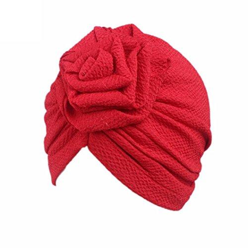 Bovake Baby Mütze Kinder Baby Mädchen Boho Hut Beanie Schal Turban Kopf Wickeln Cap (Red)
