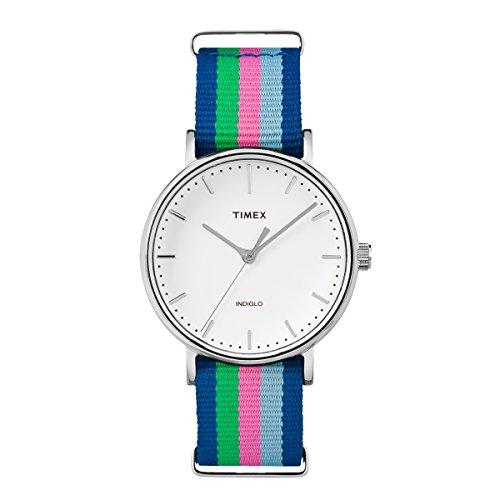 Timex Damen-Armbanduhr Armband Nylon Blau Gehäuse Edelstahl Quarz TW2P91700 (Timex Damen-armbanduhr Blau)