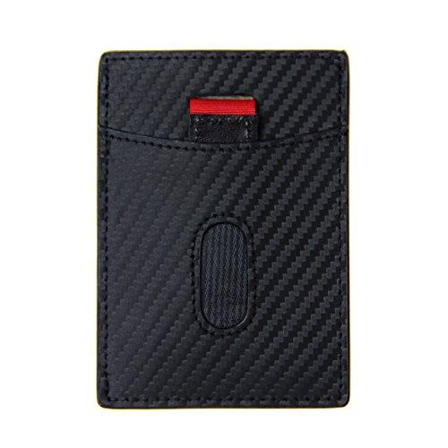 Herren Magnetische Geld Clip (Bricraft RFID Blocking Magnetic Wallet Geld Clip Wallet Slim Wallet Magnet Carbon Fiber Schwarz)