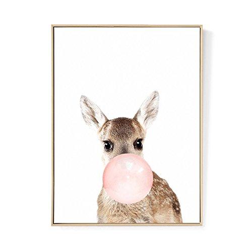 TOOGOO Kawaii Animal ciervo Poster de impresion de arte Pintura de lona nordica Cuadro de pared Decoracion de habitacion (sin marco) 50cm*70cm
