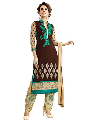 Kanchnar Women's Simple Embroidered Semi-Stitched Georgette Indian Salwar Kameez Party Wear With Dupatta