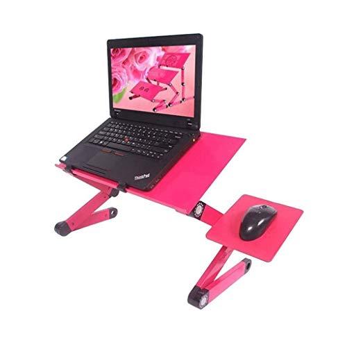 Lap Desk Stand (YJLGRYF Tragbarer Laptop-Schreibtisch Lap Desk Stand Tray, Computerbett Portable Folding Desktop Lazy Notebook Unterstützung Tisch, Höhe und Winkel einstellbar + Lüfter Kühler, mit Maus-Board PC-Stand)