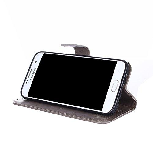 Hülle für Samsung Galaxy S7 Edge, Tasche für Samsung Galaxy S7 Edge, Case Cover für Samsung Galaxy S7 Edge, ISAKEN Blume Schmetterling Muster Folio PU Leder Flip Cover Brieftasche Geldbörse Wallet Cas Sonnenblume Schmetterling Grau