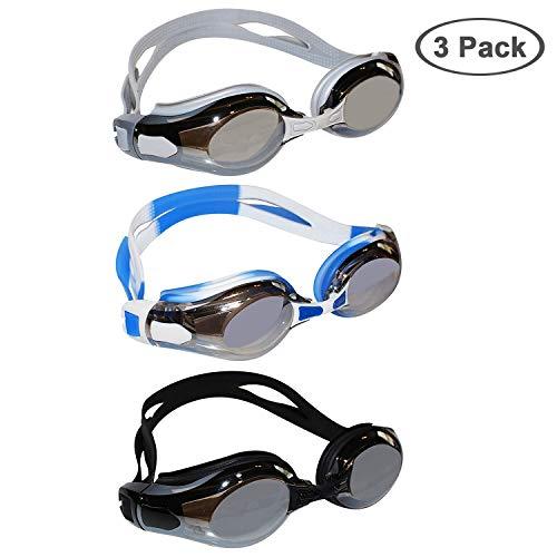Bezzee-Pro 3pack Schwimmbrille - Schutzbrillen mit Verstellbaren Silikonriemen,3 Paar Ohrstöpsel und 9 Nasenstege - Anti-Fog-UV-Schutz Triathlon Schwimmbrille für Männer, Frauen & Erwachsene