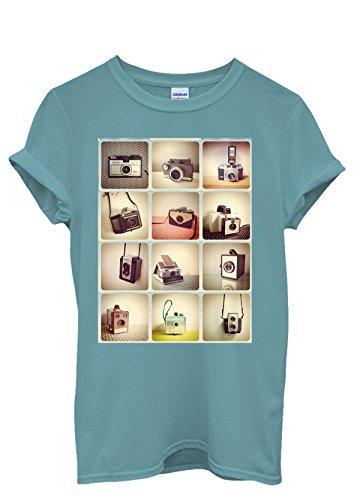 Retro Cameras Photography Cool Funny Men Women Damen Herren Unisex Top T Shirt Licht Blau