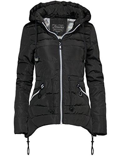 Trisens Damen Jacke FRÜHLING ÜBERGANG Sommer STEPP Jacke DAUNEN Look, Farbe:Schwarz, Größe:L