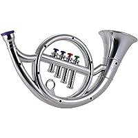 LVSSY-Cuerno Francés Cuerno de Cuatro Tonos Instrumento Musical Instrumento Musical para Niños Juguete Puzzle Musical Instrument (Plata)