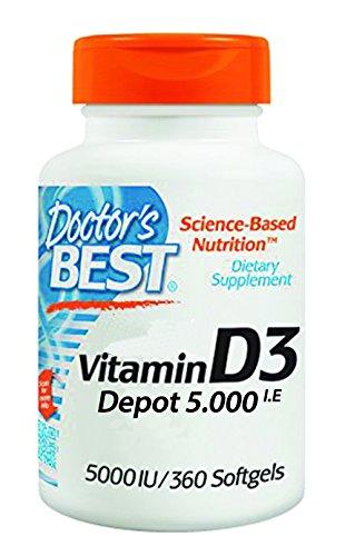Knochen-wachstum-vitamine (Doctor's Best, Vitamin D3 Depot , 5000 I.E, 360 Weichkapseln, Wochendosis)