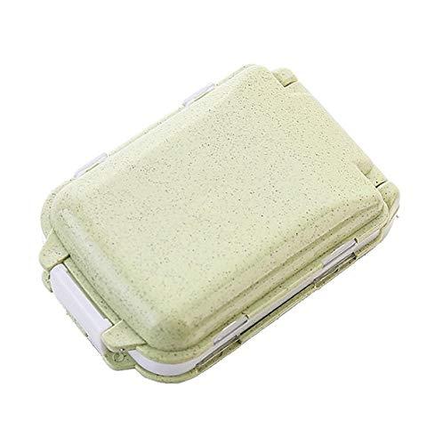brandyjacksonq Folding Pill Box Organiser Weekly Compact Portable Travel Medicine Pill Case Weekly Box Pill(Green) Green Food Storage